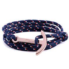 Bracelets Charm bracelets Men bracelet Titanium steel Rope chain Multilayer Trendy Anchor lover's gift Easy-hook Pulseira Rock - Cool bule
