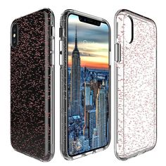Phone Case for iPhone X, Toposend SHINY GLITTER CASE [Bling Crystal Clear] Design Transparent Plastic Back with TPU Bumper Protective Case Cover for iPhone X Edition 5.8 inch (Rose Gold)