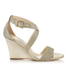 a0b9d72484d FEARNE Gold Lame Glitter Fabric Wedge Sandals by Jimmy Choo. This sandals  wedge and thick straps provide the ultimate comfort