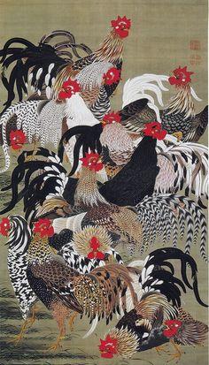Ito Jakuchu 動植綵絵 Doshoku Sai-e Title:群鶏図 Gunkei-zu(Domestic Fowl)