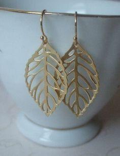 Leaf Earrings Gold / Wedding jewelry / everyday earrings / botanical jewelry on Etsy, $18.00