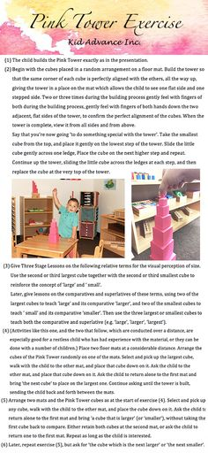 Pink Tower Exercise for children Under-fives. We also have toddler pink tower… Montessori Preschool, Maria Montessori, Learning Activities, Activities For Kids, Teacher Education, Montessori Materials, Exercise For Kids, Home Schooling, Children's House