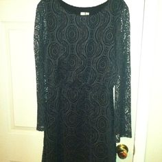 Emma & Michelle gray eyelet dress Great condition, worn once.  Gray eyelet dress, black lined, elastic waist, and sheer sleeve. MOST REASONABLE OFFERS ACCEPTED! Emma & Michele Dresses Midi