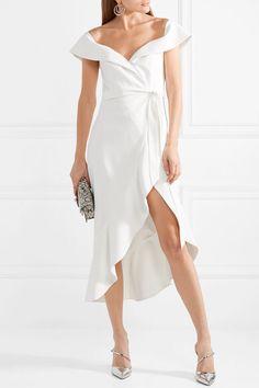 Alice + Olivia Alice Olivia - Josie Off-the-shoulder Wrap-effect Crepe Dress - White lovely #whitedress #wedding affiliate