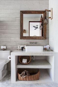 Small bathroom decor 2019 Small modern bathroom with built-in furniture. Furniture for small bathrooms. Bathroom Makeover, Bathroom Layout, Concrete Bathroom, Boho Bathroom, Bathroom Interior Design, Pinterest Home, Diy Bathroom, Modern Bathroom, Bathroom Decor