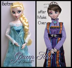 repainted ooak queen idun of arendelle, the mother of elsa and anna, made from a disney store elsa doll. Hans Christian, Disney Movie Collection, Walt Disney, Disney Frozen, Disney Barbie Dolls, Snow White Doll, Frozen Dolls, Disney Queens, All Disney Princesses