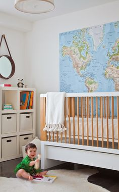 baby nursery #nursery #crib  I put this under coastal because I'm all about learning experiences being all around Baby.  Babies need color and lots of opportunities to expand that brain.  This didn't cost a lot but it will serve Baby for years.  And it has BLUE WATER!