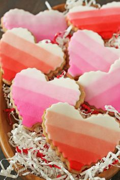 Brown butter heart cookies - in ombre and gingham patterns. Perfect for giving as gifts! From SugarHero.com