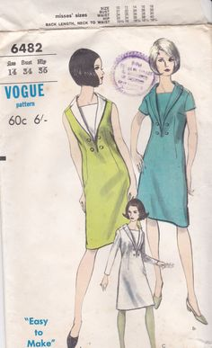 1960s Vogue 6482 Sewing Pattern for Womens One piece by jennylouvintage