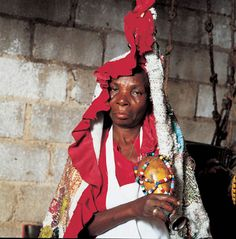"""Vodou - Visions and Voices of Haiti   Manbo with ritual rattle """"ason"""", the """"tongue of Danbala,"""" Haiti, 1994   Ph: Phyllis Galembo"""
