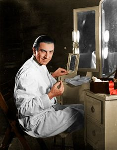 Bela Lugosi applying his makeup for Dracula (1931). In the early days, movie actors applied their own makeup as they were used to doing as stage actors.