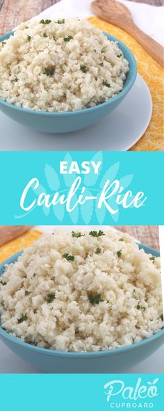 Easy Paleo Cauliflower Rice recipe - perfect substitute if you can't eat rice (add your favorite spices and seasonings!)