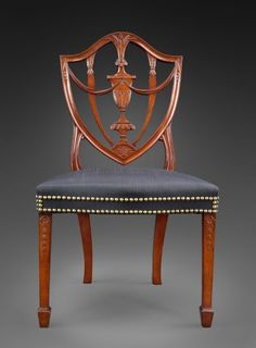 shield back chair by the great Samuel McIntire  horsehair upholstery with brass nail heads