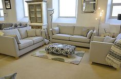 Felix 2 + 3 Seater Sofas + Armchair Light Grey Fabric 3 Piece Suite Modern Style