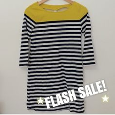 """T-Shirt Dress - 1 Day FLASH SALE!! An awesome dress for spring! Yellow shoulder line with blue/white stripes throughout. Worn a couple times, like new  31.5"""" from shoulder to hem. Check old navy.com for sizing. Old Navy Dresses"""