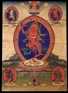 Vajravarahi with Four Dakinis