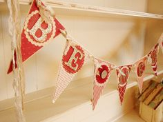 Christmas BE MERRY Banner Red and Cream  by WhateversHandmades