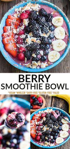 This Berry Smoothie Bowl is a healthy breakfast idea to start the day. It's easy to customize using your favorite berries & greens, and so delicious! Vegan, dairy-free, Whole30, paleo, low carb and no added sugar, this summer treat is good for you and tastes amazing! Easy Smoothie Recipes, Easy Smoothies, Good Healthy Recipes, Paleo Recipes, Free Recipes, Brunch Recipes, Breakfast Recipes, Breakfast Club, Brunch Ideas
