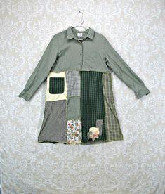 2X Women/'s Upcycled TunicBoho Altered ClothingHigh Low HemBoho Recycled ShirtBlue,White
