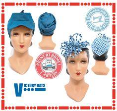 1940s Sewing Patterns – Dresses, Overalls, Lingerie etc 1940s WWII Victory Hat Pattern- Wearing History PDF Vintage Sewing Pattern $12.00 AT vintagedancer.com