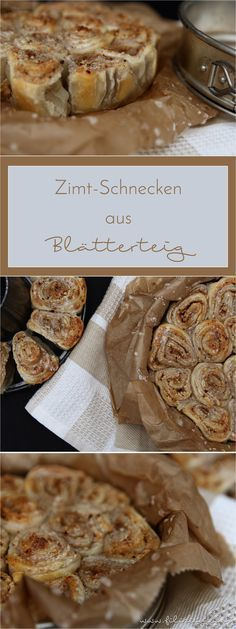 Cinnamon rolls are a real culinary delight. This alternative with puff pastry and nuts is finished in only 30 minutes. Cinnamon rolls are a real culinary delight. This alternative with puff pastry and nuts is finished in only 30 minutes. Baking Recipes, Cookie Recipes, Bread Recipes, Vegan Recipes, No Bake Desserts, Dessert Recipes, Cake Vegan, Puff Pastry Recipes, Sweet Bakery
