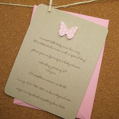 butterfly baby shower invite recycled kraft por graciegirlnotes