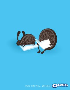 A print ad that uses the concept of two half's make a whole. This is an effective communication method for Oreo. I like the idea of making two cookies friends and using that idea to promote the cookie as a whole.