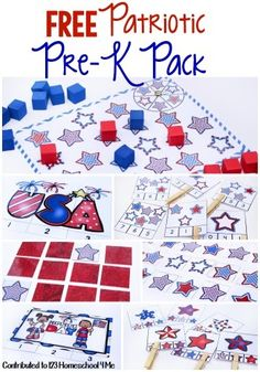 FREE Patriotic Worksheets for Toddler, Preschool and Kindergarten age. This preK pack is perfect for 4th of July, Memorial Day Presidents Day and more!