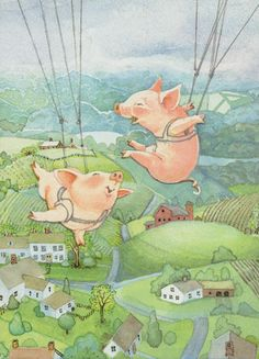 Illustration by Holly Hobbie Holly Hobbie, Decoupage Vintage, Toot & Puddle, Pig Art, Dibujos Cute, Flying Pig, Cute Pigs, Jaco, Little Pigs