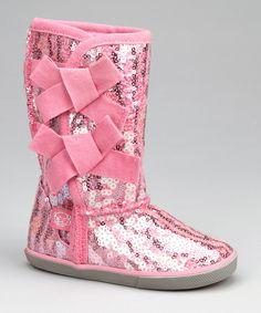 Pink Rocker Sequin Bow Boot