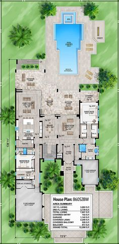 first floor -- Plan 86052BW: Marvelous Contemporary House Plan with Options (Architectural Designs)