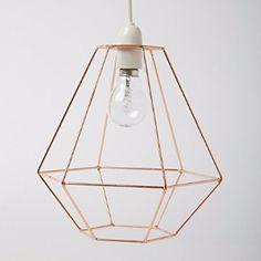 Copper wire diamond lamp shade.