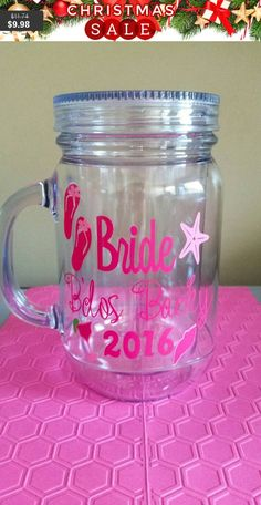 Acrylic Mason Jar Tumbler, Glitter Vinyl option, Plastic Mug, 20 oz cup lid straw, vinyl monogram, bpa free, weddings, parties, gift