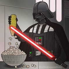 Star Wars: Popcorn ~~~ Deep down, we've always suspected he used his lightsaber for things like this! (lol) Star Wars: Popcorn ~~~ Deep down, we've always suspected he used his lightsaber for things like this! Star Wars Fan Art, Star Wars Meme, Star Wars Comics, Star Wars Witze, Star Wars Party, The Force Star Wars, Marvel Comics, Images Star Wars, Star Wars Pictures