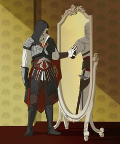 Ezio looking in the mirror seeing Altair