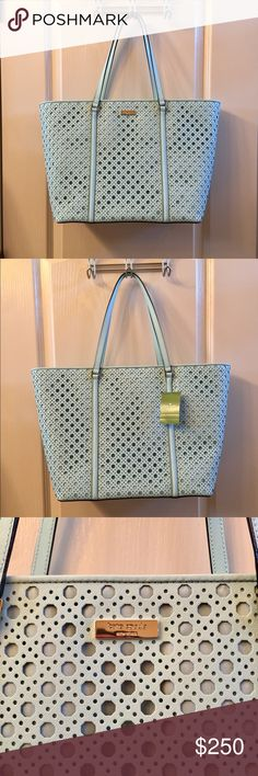 Kate Spade Large Tote & Wallet Grace Blue NWT Kate Spade large tote and matching wallet in grace blue (mint color), gold hardware. NWT, brand new, never used. Would prefer to sell the tote and wallet together but will sell separately for the right price. 100% authentic! Retails for $550 (tote $398, wallet $150). kate spade Bags Totes