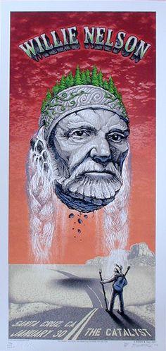 2006 Willie Nelson - Orange Variant Concert Poster by Emek