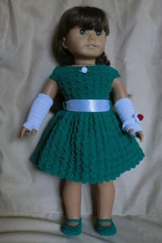 Crochet Pattern 169 Holiday Outfit For 18 Inch Dolls. $3.50, via Etsy.
