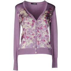 Liu •jo Cardigan ($53) ❤ liked on Polyvore featuring tops, cardigans, lilac, purple floral top, long sleeve tops, lightweight cardigan, v neck tops and purple cardigan