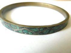 vintage crushed turquoise bangle bracelet    #BidOnTophatter