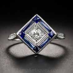 Art Deco Diamond and Synthetic Sapphire Ring