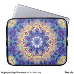 Shop Bright purple yellow mandala laptop sleeve created by Barvinka. Neoprene Laptop Sleeve, Laptop Sleeves, Bright Purple, Purple Yellow, Purple Chakra, Custom Laptop, Front Bottoms, Day Use, Beach Mat