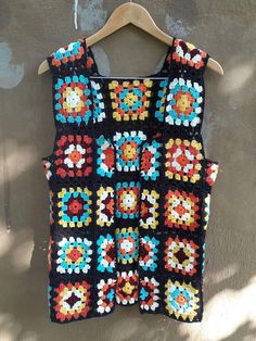 Crochet Vest Afghan Jacket Granny Square Vest Festival Fashion Women Men Kids Clothing Outwear Gift Ideas Fashion Accessories Made to Order