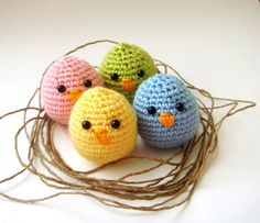 These sweet baby birds are crocheted in spring colors. Perhaps a knitted version?