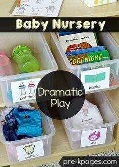 These look great to use in a playroom. Baby Nursery Pretend Play Printables for Preschool Classroom