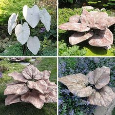 The Leaves Concrete Botanicals Cement Art, Concrete Crafts, Concrete Projects, Concrete Design, Concrete Yard, Concrete Planters, Diy Planters, Garden Crafts, Garden Projects
