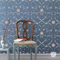 The Florentine Flourish Damask Wall Stencil from the Alison Woolley Collection features a delicate scrolling floral pattern that was inspired by Florentine decorated paper designs. This two-layer sten