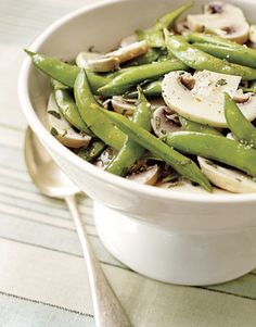Healthy snack: Snap Pea and Marinated Mushroom Salad #recipes