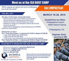 Details for the JSJI BOOT CAMP Not sure? Need a PUSH...The JSJI BOOT CAMP, March 19-20 In Philadelphia https://www.youtube.com/watch?v=8WvSgw5mT1U