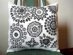 """Hand Printed Black and White Pillow Cover- 14"""" x 14"""" Handprinted Pillow Cover"""